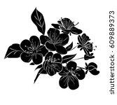 twig sakura blossoms. vector... | Shutterstock .eps vector #609889373