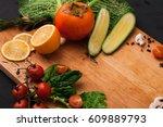 cooking healthy vegetarian food ... | Shutterstock . vector #609889793