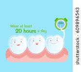 cute cartoon tooth wear brace...   Shutterstock .eps vector #609896543