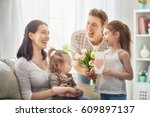 happy mother's day  two... | Shutterstock . vector #609897137