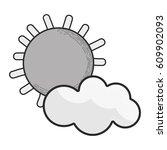 grayscale sun and cloud cartoon ...   Shutterstock .eps vector #609902093