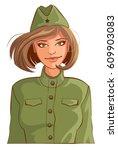 russian woman retro soldier....   Shutterstock .eps vector #609903083
