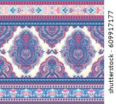 beautiful indian floral paisley ... | Shutterstock .eps vector #609917177
