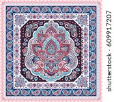 beautiful indian floral paisley ... | Shutterstock .eps vector #609917207