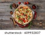 large pizza for vegeterians...   Shutterstock . vector #609932837