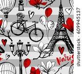 paris symbols seamless pattern. ... | Shutterstock .eps vector #609945137