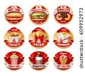 set of fast food logos ... | Shutterstock . vector #609952973