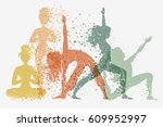 fitness background with woman...   Shutterstock .eps vector #609952997