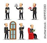 butler cartoon set. man with...   Shutterstock .eps vector #609955283
