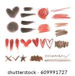big set of makeup tools texture.... | Shutterstock .eps vector #609991727