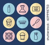 set of 9 cleaning outline icons ... | Shutterstock .eps vector #609998753