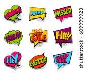 hey  hi  hot sale set comic... | Shutterstock .eps vector #609999923