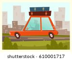 illustration of a red car with...   Shutterstock .eps vector #610001717