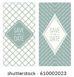 two retro wedding invitation... | Shutterstock .eps vector #610002023