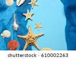 marine blue background with... | Shutterstock . vector #610002263