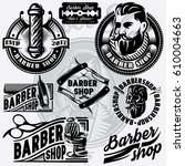 set of templates for barbershop....   Shutterstock .eps vector #610004663