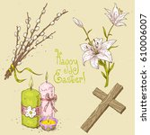 collection of easter objects ... | Shutterstock .eps vector #610006007