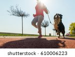 Stock photo young pretty girl running outdoor in the spring with her bernese mountain dog 610006223