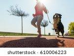 young pretty girl running... | Shutterstock . vector #610006223