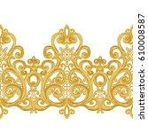 seamless pattern. golden... | Shutterstock . vector #610008587