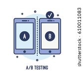 illustration of a b testing on... | Shutterstock .eps vector #610011083