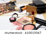 makeup products on white... | Shutterstock . vector #610015067