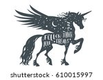 magic unicorn silhouette with... | Shutterstock .eps vector #610015997