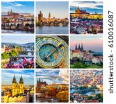 collage of landmarks of prague. ... | Shutterstock . vector #610016087