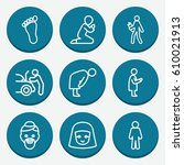 set of 9 person outline icons... | Shutterstock .eps vector #610021913