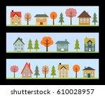 residential neighborhoods  ... | Shutterstock .eps vector #610028957