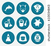 set of 9 cartoon filled icons...   Shutterstock .eps vector #610034843