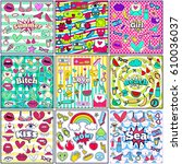 cute chic fashion summer patch...   Shutterstock .eps vector #610036037