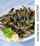 plate of mussels | Shutterstock . vector #610037987