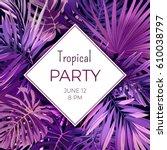 purple neon vector floral flyer ... | Shutterstock .eps vector #610038797