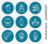 set of 9 person outline icons... | Shutterstock .eps vector #610040267