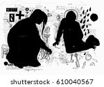 symbolic image of a boy and a... | Shutterstock .eps vector #610040567