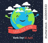 earth day poster  cartoon style....   Shutterstock .eps vector #610044533
