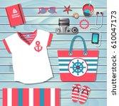 vector  template for summer... | Shutterstock .eps vector #610047173