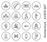 set of 16 people outline icons... | Shutterstock .eps vector #610051307