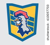 cheerful rooster mascot  team...   Shutterstock .eps vector #610057703