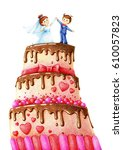 hands drawn picture of wedding... | Shutterstock . vector #610057823