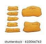 set of cartoon wooden... | Shutterstock .eps vector #610066763