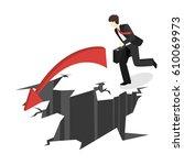 isometric businessman running... | Shutterstock .eps vector #610069973