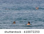 people swimming and snorkeling... | Shutterstock . vector #610072253