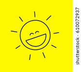 funny laughing cute smiley sun... | Shutterstock .eps vector #610072937