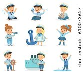 small children in sailors... | Shutterstock .eps vector #610073657