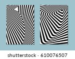 striped black and white opt art.... | Shutterstock .eps vector #610076507