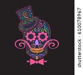 skull vector gentleman with... | Shutterstock .eps vector #610078967
