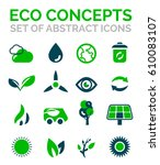 set of vector eco nature... | Shutterstock .eps vector #610083107