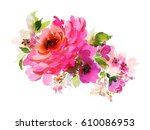 Stock photo a bouquet with a big pink rose and small flowers in bright colors watercolor horizontal 610086953